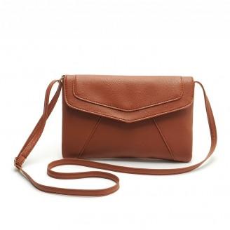 Кафява дамска чанта за рамо