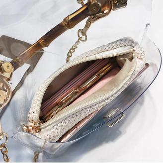 Ефектна дамска чанта с бамбук - Le Bouscat