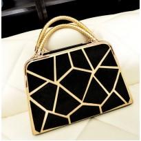 Евтина черно-златиста дамска чанта
