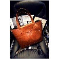 Голяма кафява дамска чанта Tote