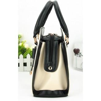 Елегантна черно-бяла дамска чанта