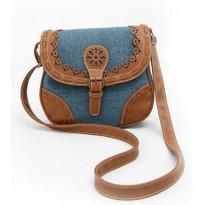 Сиво-синя дамска чанта за през рамо