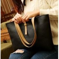 Голяма изчистена черна или кафява дамска чанта