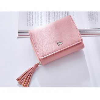 Малък дамски портфейл с пискюл