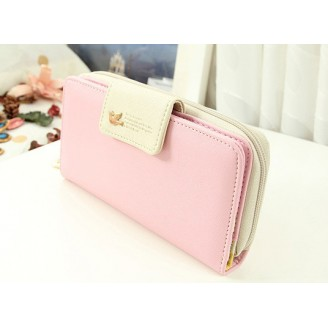 Розово дамско портмоне с птичка