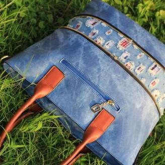 Голяма дънкова дамска чанта