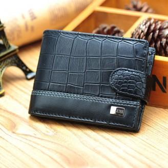 Черен мъжки портфейл със закопчалка