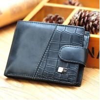 Мъжки черен кожен портфейл на ниска цена