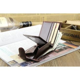 Кафяв стилен мъжки портфейл- със закопчалка
