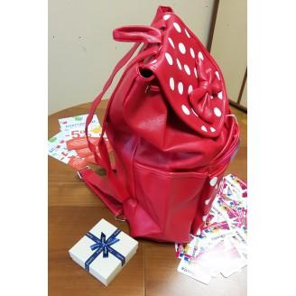 Червена дамска раница с панделка